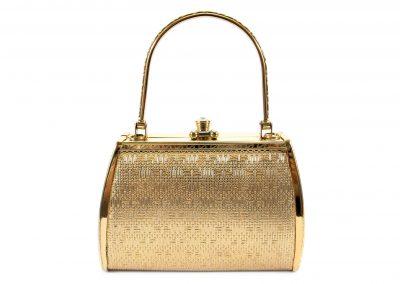Woman gold handbag isolated on white background.Gold handbag isolated